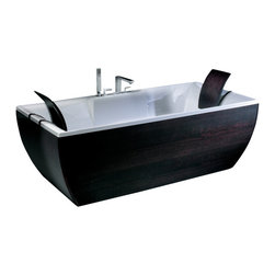 Modo Bath - Kali'-Art Wenge Free Standing Bathtub - Kali'-Art Wenge by WS Bath Collections Free Standing Bathtub in Acrylic White,with Headrests in Wood and Stainless Steel Support