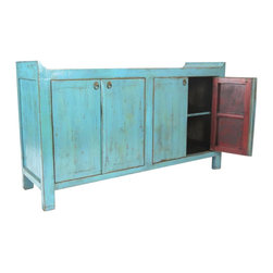 Madera Home - This charming teal sideboard adds architectural interest with curved corners and a pop of color with saturated teal.  Perfect and versatile for any room.