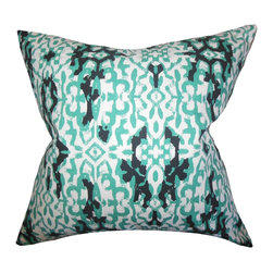 """The Pillow Collection - Madrigal Ikat Pillow Jade 18"""" x 18"""" - Adorn your living space with eccentric accent pillow. This toss pillow features a unique ikat pattern in shades of green, white and black. Add an exotic touch to your sofa, bed or couch with this throw pillow. Made of 100% high-quality cotton fabric, this 18"""" is constructed in the USA."""