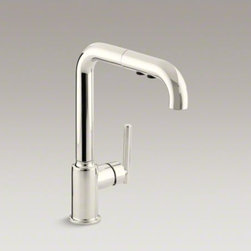 """KOHLER - KOHLER Purist(R) single-hole kitchen sink faucet with 8"""" pullout spout - Designed to accommodate extra-thick counters, this Purist kitchen faucet combines minimalist style and simple-to-use features. Featuring a single lever handle, the high-arch swing spout includes a pullout sprayhead with two flow options and pause function"""
