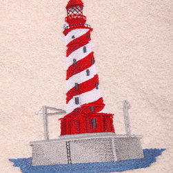 Egyptian Cotton Bath Towel Set with Embroidered White Shoal Lighthouse, Beige - Towels are 100% Egyptian cotton, soft thick terry.  Embroidered on the towels is a White Shoal Lighthouse.  The design is embroidered with long lasting, color fast, polyester thread.  Machine washable.  Included in the set is: