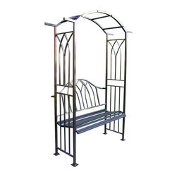Oakland Living - Oakland Living Royal Arbor with Bench in Black - Oakland Living - Outdoor Benches - 5018BK - About This Product: