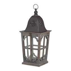 Sterling Industries - High Green-Medium Wooden Lantern - High Green-Medium Wooden Lantern