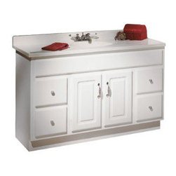 """DHI-Corp - Concord White Gloss Vanity Cabinet with 2-Doors and 4-Drawers, 48"""" by 18"""" by 30"""" - The Design House 531301 Concord White Gloss Vanity Cabinet features a durable white gloss finish and satin nickel hardware. Clean lines and concealed hinges. The 2-door, 4-drawer construction gives you plenty of storage for toiletries to keep your countertop free of clutter. Easily add an additional shelf inside this cabinet for even more storage. Measuring 48-inches by 18-inches by 30-inches, this vanity can fit into a moderately sized bathroom, while providing ample storage space. Modern construction meshes with subtle vintage details for an elegant addition to your bathroom. This product is perfect for remodeling your bathroom and matches granite countertops and colored walls. Vanity top is not included with this product. The Design House 531301 Concord White Gloss Vanity Cabinet has a 1-year limited warranty that protects against defects in materials and workmanship. Design House offers products in multiple home decor categories including lighting, ceiling fans, hardware and plumbing products. With years of hands-on experience, Design House understands every aspect of the home decor industry, and devotes itself to providing quality products across the home decor spectrum. Providing value to their customers, Design House uses industry leading merchandising solutions and innovative programs. Design House is committed to providing high quality products for your home improvement projects."""