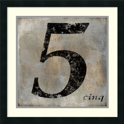 Amanti Art - Oliver Jeffries 'Cinq' Framed Art Print 22 x 22-inch - Lucky number 5.  Five is Fermat prime, five fingers, five toes, five by five, five books in the Torah, the perfect fifth, high five, Coco Chanel No. 5, pentagram; celebrate the number five with this Cinq framed print by Oliver Jeffries.