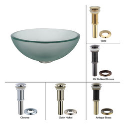 Kraus - Kraus Frosted 14 inch Glass Vessel Sink with PU-MR Oil Rubbed Bronze - *Fashionable bathroom sink is the perfect harmony of elegance and style
