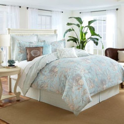 Royal Heritage Home/bloomcraft Home - Sea Cottage Comforter Set - Create a cozy seaside retreat in your home with the Sea Cottage comforter set. It's decorated with a fun, shore-inspired shell print with coral print reverse in a soothing palette of seafoam and green. Each set includes comforter, sham(s), and bed skirt.