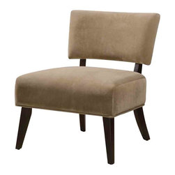 Adarn Inc - Contemporary Upholstered Accent Side Chair Accent Seating, Tan - This accent chair's individualized style and oversized proportions will be a beautiful addition to any room in your home. Inspired by midcentury styles, this side chair features an oversized upholstered seat, sleek tapered legs and a rectangular back suspended on two walnut finished supports. A curved seat back provides generous support without interfering with the modern design of the chair. Customize the look of this contemporary accent chair with your choice of light brown microfiber, brown swirl pattern, zebra print, brown or tan upholstery options.