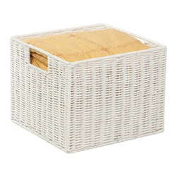 "Parchment Cord Storage Crate - Honey-Can-Do STO-03562 Paper Rope Storage Crate, White. Keep clutter at bay with our paper rope crate basket. The recycled and repurposed parchment is formed into strap-like fibers, making the crate durable and eco-friendly. The wire frame adds to its strength, and the built-in carrying handles make it easy to transport.  Measuring 12.2""  L x 13"" W x 10"" H, this crate provides endless storage options for any room of the house and its neutral color matches any decor. Coordinates with other paper rope products from Honey-Can-Do."