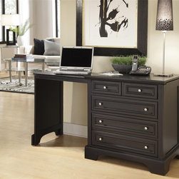 HomeStyles - Expandable Desk in Black Finish - Includes 24.5 in. pull-out side that expands work surface to 54.5 in.. Two storage drawers. File drawers. Can use as a larger night stand, side table or stand alone piece when closed. Made from poplar solids and engineered wood. 30 in. W x 22 in. D x 30 in. H. Assembly instructionsFinding a piece of quality furniture for a compact space to study or manage a household can prove to be difficult. Home Styles has solved that problem with the not only functional, but stylish Bedford Expandable Desk. This desk's distinctive design lets you work virtually anywhere in your home.