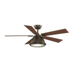 "Fanimation Breckenfield 52 in. Indoor/Outdoor Ceiling Fan with Light - Featuring a contemporary style and a fashion forward light kit the Fanimation Breckenfield 52 in. Indoor Ceiling Fan with Light makes a wonderful accent in any room. This damp rated fan can even be used in indoor/outdoor rooms and it's offered in a range of finish and blade color combinations. Five blades offer a 14-degree pitch and a 52-inch sweep. This fan moves in forward and reverse at three speeds. It requires one 100W halogen light bulb. About Fanimation27 years ago in a Pasadena garage Tom Frampton pursued a desire to create innovative high-quality ceiling fans by producing his very first design the Punkah. Before long the market began to take notice of Tom's designs and Fanimation was born. Today Fanimation offers its products in over 1 500 retail stores and 33 countries. Fanimation's unique designs have been used in magazines such as Vanity Fair and Modernism as well as gracing both the large and small screens on HGTV and Extreme Makeover Home Edition and the film """"I Robot""""."