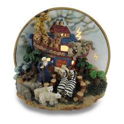 Zeckos - Noahs Ark Detailed Decorative Night Light 3D Figurine Accent Lamp - Combining art with function, this lamp provides a wonderful accent to your home whether in the bedroom, living room or nursery and is a unique highlight in an entryway perfect to add a fun touch of light! Cast in resin with an expertly hand-painted finish, this 3D lamp features Noah and his ark with an assortment of animals while various windows in the ark and cut-out lightning bolts on the plate style background allow the light to shine through. This 6.75 inch high, 6.5 inch long, 5 inch wide (17 X 16 X 13 cm) accent lamp uses one 7 watt night light style bulb (included), and easily turns on or off via the thumb-wheel switch on the 70 inch long white cord. It's great as a housewarming or baby shower gift sure to be enjoyed!