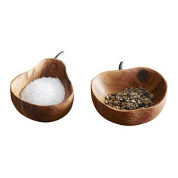 Apple & Pear Pinch Bowl Set - Solid Bayong wood is hand shaped into salt and pepper pinch bowls. Food safe vegetable oil finish.