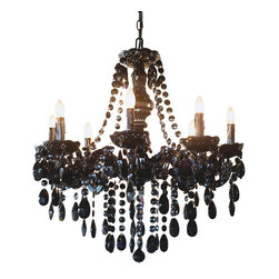 River of Goods - Black Jeweled 24.5 Inch High Glam Chandelier - This stunning chandelier is crafted in black crystal like faceted jewels. Each of the eight arms is adorned with a bobeche and molded candle covers, which give the look of an authentic candelabra style chandelier. This chandelier is equipped with a plug for easy installation, all you need to do is swag the chain and plug it in.  You may use up to 25W bulbs (not Included).   UL approved.  2 prong plug.