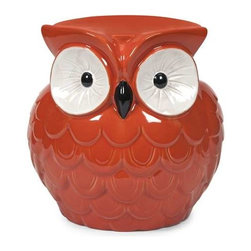 Hoot Owl Orange Garden Stool - Who doesn't love this collection of small scale garden stools? They bring bold color, whimsical style and a resting place to any area.