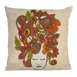 DENY Designs - DENY Designs Valentina Ramos Its All In Your Head Throw Pillow - Funky-fresh style for a modern life.  What's in your head? Whatever it is, DENY Designs is the one to decipher it into beautiful home accessories: they work with artists and art communities all over the world to create unique pillows for the outside-the-box decorating. Take it all in with the vibrant Valentina Ramos Its All In Your Head Throw Pillow, featuring a peaceful face piled high with colorful flora and fauna  - your sofa won't look the same ever again!Woven polyester coverConcealed zipperCustom printed for every orderDesigned by Valentina Ramos