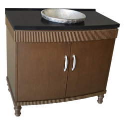 """L&K Designs - 39 Inch Transitional Single Sink Bathroom Vanity - The Barcelona 39"""" Vanitiy features a rich mocha finish on a sleek design. The glass vessel bowl is recessed into the top to allow use of a conventional wide spread faucet. This cabinet has two functional doors. Dimensions: 39""""W X 22""""D X 36""""H (Tolerance: +/- 1/2""""); Counter Top: Black Granite; Finish: Dark Brown; Features: 2 Doors, 1 Interior Shelf; Hardware: Silver; Sink(s): 15"""" Silver Glass Recessed Vessel; Faucet: Pre-Drilled for Single Hole Faucet (Not Included); Assembly: Light Assembly Required; Large cut out in back for plumbing; Included: Cabinet, Sink; Not Included: Faucet, Backsplash"""