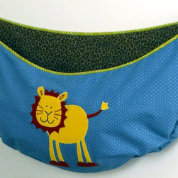 """Cotton Tale Designs - Paradise Toy Bag - A quality baby bedding set is essential in making your nursery warm and inviting for your newborn. All Cotton Tale patterns are made using quality materials and are uniquely designed to create your perfect nursery. Part of the Paradise collection, this blue toy bag lined in brown animal print, features a happy yellow lion appliqued on the front, and trimmed in bright green, is perfect for your little one's favorite playthings. Hang it from the changing table or the dresser, but never from the crib. Fun and functional, can store supplies or toys. Wash gentle cycle, separate, cold water. Tumble dry low or hang dry. This collection is perfect for your little boy, but can be used for a girl as well.;Dimensions: 27""""L x 1""""W x 13""""H"""