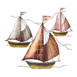 """Metal Sailboats Sculpture - The metal sailboats sculpture measures 20"""" x 18"""". This item features three beautiful metal sailboats attached to one another. It will add a definite nautical touch to wherever it is placed and is a must have for those who appreciate high quality nautical decor. It makes a great gift, impressive decoration and will be admired by all those who love the sea."""