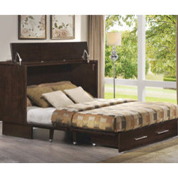 Queen Size Creden-ZzZ Cabinet Bed 503-20-A(FUFS) - The new Creden-ZzZ designed for ease of use, features a 39 inch high top surface and a lowered center of gravity fold down front panel. This is an excellent choice for seniors who have down sized, for home offices where the counter height top makes an excellent work surface and for resort property where extra beds are always needed. The Creden-ZzZ Queen Cabinet Bed houses a full-size queen mattress in an attractive cabinet. No need to move items from the top to open the bed! No installation required. The sleeping platform is made by folding down the front panel onto felt covered extension runners. Queen size bed has two roomy storage drawers and a center support runner so the sleeping platform can support up to 500 pounds.