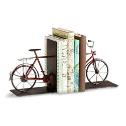 Pedal Bookends - Perfect for travel journals, city guidebooks, or any particular section of your home library that needs a breezy, nostalgic accent, the Pedal Bookends are cleverly constructed to replicate the shape of a vintage bicycle with appealing three-color realism and delicate wire detailing to its handles, spokes, and frame.  Even the chain is textured for a delightfully realistic functional sculpture.