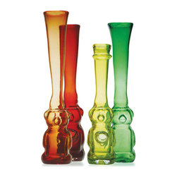 Esque - Honeybear Vase, Orange - Who doesn't love the iconic honey bear? These one-of-a-kind glass vases have been handblown and molded and come in a rainbow of colors. This would make a great pop art statement in an eclectic home.