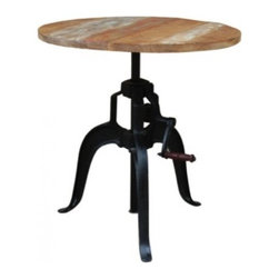 "YOSEMITE HOME DECOR - Crank Table - What fun!!!  An adjustable height pub/bistro table is perfect for any space where space is an issue, or even if you want to just add some interest to a room. The solid mango top adjusts from 38""-48"" in height. This  fun and useful table is supported by  a large cast iron base. Made in India"