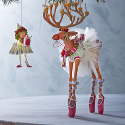 """Patience Brewster - Patience Brewster Dancer Reindeer Figure - Patience Brewster has designed her whimsical reindeer figures and elf ornaments based upon the poem """"Night Before Christmas"""" by Clement Clark Moore. The eight reindeer are called out by name, and hers bear the same names with one exception: Donner has b..."""