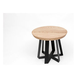 """ARTLESS - ARS End Table - ARTLESS ARS End Tables are part of the growing ARS family. Available in a Walnut or Oak top and 22 in diameter, the ARS End Table comes in numerous colorful bottoms and its versatility is undermined by their striking personalities. The top of the base is a closed hexagon, which is torqued and its sides erased as it reaches the floor. This simple, yet powerful form is capped by the contrast of the tabletop, which brings purpose and meaning to it all. The ARS bases are made of solid steel, which is blackened, powder coated or dipped in copper. Features: -Base material: Solid steel.-Top of the base is a closed hexagon.-Made in United States.-ARS collection.-Collection: ARS.-Distressed: No.-Country of Manufacture: United States.-Powder Coated Finish: Yes.-Gloss Finish: No.-Base Material: Steel.-Top Material: Solid wood (walnut or oak).-Solid Wood Construction: Yes.-Number of Items Included: 1.-Nesting Tables: No.-Non-Toxic: Yes.-Scratch Resistant: No.-Stain Resistant: No.-Lift Top: No.-Storage Under Table Top: No.-Drop Leaf Top: No.-Magazine Rack: No.-Built In Clock: No.-Drawers Included: No.-Exterior Shelves: No.-Cabinets Included: No.-Glass Component: No.-Legs Included: No.-Casters: No.-Lighted: No.-Stackable: No.-Reclaimed Wood: No.-Adjustable Height: No.-Outdoor Use: No.-Weight Capacity: 400 lbs.-Swatch Available: No.-Commercial Use: Yes.-Recycled Content: No.-Eco-Friendly: Yes.-Product Care: Wipe clean with a dry cloth.-Built In Outlets: No.-Powered: No.Specifications: -FSC Certified: No.-EPP Compliant: No.-CARB Compliant: Yes.-ISTA 3A Certified: No.-ISTA 1A Certified: No.-General Conformity Certificate: No.-Green Guard Certified: No.-ISO 9000 Certified: No.-ISO 14000 Certified: No.Dimensions: -Overall Product Weight: 35 lbs.-Overall Height - Top to Bottom: 18.5"""".-Overall Width - Side to Side: 22"""".-Overall Depth - Front to Back: 22"""".-Table Top Thickness: 2"""".-Table Top Width - Side to Side: 22"""".-Table Top Depth - Front to Back: 22"""".Assembly"""