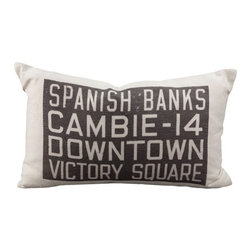 Pillow Decor - Pillow Decor - Spanish Banks Bus Scroll Throw Pillow - From the Museum of Vancouver's Retail Collection, the Spanish Banks Bus Scroll Throw pillow features a section of an original bus scroll that was once used on Vancouver's electric trolley buses in the early 1950s. The text on this vintage style throw pillow refers to bus routes that would have been displayed on the front of the bus.
