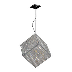 "Worldwide Lighting - Cube 6 Light Chrome Finish Crystal 12"" Pendant Light Small - This stunning 6-light Crystal Pendant only uses the best quality material and workmanship ensuring a beautiful heirloom quality piece. Featuring a radiant chrome finish and finely cut premium grade crystals with a lead content of 30%, this elegant ceiling light will give any room sparkle and glamour. Worldwide Lighting Corporation is a privately owned manufacturer of high quality crystal chandeliers, pendants, surface mounts, sconces and custom decorative lighting products for the residential, hospitality and commercial building markets. Our high quality crystals meet all standards of perfection, possessing lead oxide of 30% that is above industry standards and can be seen in prestigious homes, hotels, restaurants, casinos, and churches across the country. Our mission is to enhance your lighting needs with exceptional quality fixtures at a reasonable price."