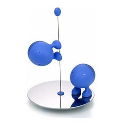 "Alessi - Alessi ""Lilliput"" Salt and Pepper Set, Blue - This salt and pepper set is made of thermoplastic resin and the base is stainless steel mirror polished."