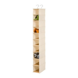 Honey Can Do - Honey-Can-Do Hanging Shoe Organizer, Bamboo/Canvas - Turn a jumbled mess into a well-organized closet with our soft storage solutions. This durable piece keeps clutter at bay using every inch of available space for endless storage possibilities. This organizer has 10 reinforced shelves for great capacity and hangs easily from your closet rod using two steel hooks. Perfect for organizing shoes and protecting them from scuffs, it can also be used for small bags and accessories. Beautiful bamboo accenting creates a classic, eco-friendly look that complements any decor. One item in Honey-Can-Do's mix and match collection of sturdy closet organizers, it's a perfect blend of economy and strength.