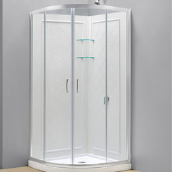BathAuthority LLC dba Dreamline - Prime Frameless Sliding Shower Enclosure, Base and Qwall-4 Shower Backwalls Kit - This convenient kit from DreamLine combines a Prime shower enclosure with coordinating SlimLine shower base and matching shower backwalls. The SlimLine shower base has a modern low profile design, is fiberglass reinforced and scratch and stain resistant. The shower backwall panels have a tile pattern and are easy to install with a trim-to-size fit. Both the shower panels and shower base are made from durable and attractive Acrylic/ABS advanced materials. Choose a DreamLine kit to totally transform a shower space.