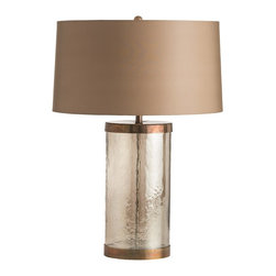 """Arteriors - Mandel Lamp - The clean lines of the Mandel Lamp are elegant and understated.  The smoke luster glass cylinder is capped on either end with generous antique brass caps.  It is topped with a lined sheer microfiber shade that matches the color of the cap and base.  Lamp body: 8"""" w x 8"""" d x 15"""" h  Socket Wattage: 150  Switch Color: Black  Switch Location: At Neck  Switch Type: 3-Way Rotary  Cord Color: Clear/Silver  Microfiber shade: 19"""" w x 19"""" d x 10"""" h"""