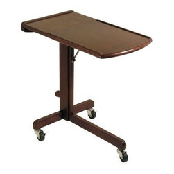 Winsome Wood - Adjustable Lap Top Cart - Our Great design Lap Top Cart with adjustable height & work-surface angle gives you work and play wherever you go in the house because of its casters. It can move easily on provided 3 wheels and is in beautiful walnut finish.