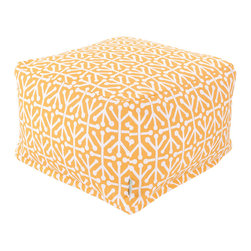 Majestic Home - Outdoor Citrus Aruba Large Ottoman - Add a little character to your living room or patio with the Majestic Home Goods Large Ottoman. This Ottoman is the perfect accessory to add comfort and style to any room while functioning as a decorative foot stool, pouf, or coffee table. Woven from outdoor treated polyester, these ottomans have up to 1000 hours of U.V. protection and are able to withstand all of natures elements. The beanbag inserts are eco-friendly by using up to 50% recycled polystyrene beads, and the removable zippered slipcovers are conveniently machine-washable.