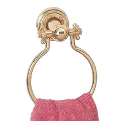 "Renovators Supply - Towel Rings Bright Brass Towel Ring 6"" Dia - Hang your hand towel on this unique and distinctive bath accessory. This towel ring sports cross handles."