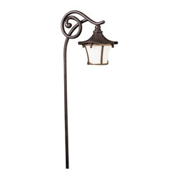 LANDSCAPE - LANDSCAPE Cotswold Path Light X-ZGA02451 - From the Cotswold Collection, this Kichler Lighting outdoor path light features a slender curving arm with an elegant scrolling detail and a whimsical looking lantern. The weathered white glass is perfectly complimented by a warm Aged Bronze finish.