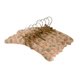Enchante Accessories Inc - Raymond Waites Padded Clothes Hangers, Set of 8, Salmon - Gently padded and covered in soft cotton fabric, this set of 8 padded hangers is perfect for use in any closet.  Whether you're a perfectionist at organization and need all of your closet accessories to coordinate, or you just want to hang a few special garments on protective hangers, this vintage inspired set lends style and added function to your closet design.