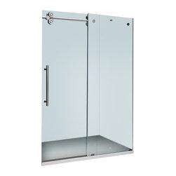 Vigo - Vigo 60-inch Frameless Tub door 3/8in.  Frosted Glass Chrome Hardware Left - Make your bathroom an oasis with a Vigo frameless tub enclosure.