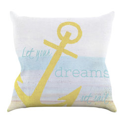 "Kess InHouse - Alison Coxon ""Let Your Dreams Set Sail"" Throw Pillow (20"" x 20"") - Rest among the art you love. Transform your hang out room into a hip gallery, that's also comfortable. With this pillow you can create an environment that reflects your unique style. It's amazing what a throw pillow can do to complete a room. (Kess InHouse is not responsible for pillow fighting that may occur as the result of creative stimulation)."