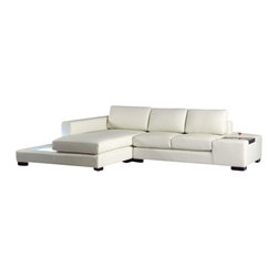 VIG Furniture - T35 Mini White Bonded Leather Sectional Sofa With Built-in Lighting - The T35 Mini sectional sofa will be the perfect addition for any smaller area looking for a touch of modern design. This sectional comes upholstered in a beautiful white bonded leather in the front where your body touches. Skillfully chosen match material is used on the back and sides where contact is minimal. High density foam is placed within the cushions for added comfort. The sectional features a built in light on the side of the chaise that adds to the ambiance of the room. The headrests shown do NOT come included with the sectional and can be added for an additional fee.