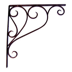 Iron Artistica - Iron Artistica Pair of Large Scroll Brackets - This scroll wall bracket has a unique transitional design that will compliment any current room or garden decor. It's perfect for creating wall shelves, holding counter tops, and using as an architectural accent. This two tone bronze rust finish gives the appearance of an antique rustic piece. This is a great price for solid iron wall brackets, and they are only available only through Carolina Rustica. Sold as a pair. Please note that all brackets are pre-drilled. DOES NOT include hanging hardware. Click here for information on choosing and installing your Iron Brackets.