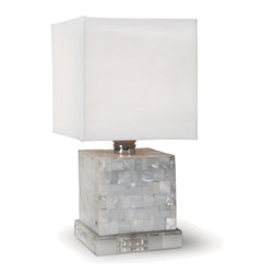 Kathy Kuo Home - Marconi Coastal Beach Mother of Pearl Cube Table Lamp - Shimmering, precisely-cut shells surround this modern cube lamp. Shades of cream, alabaster and white create a clean, light palette, perfect atop the angular crystal base. A square ivory shade crowns the jeweled table lamp.