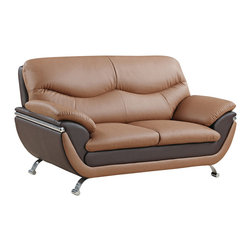 Global Furniture - Global Furniture USA 2106 Loveseat in Light / Dark Brown - Two-toned, plush seating and contemporary style is what you get in this light/dark brown bonded leather loveseat. Finished with chrome legs this piece will make a wonderful addition to your living space.