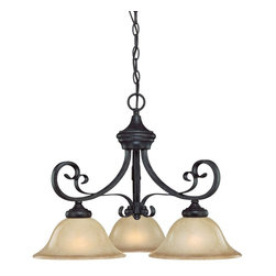 Jeremiah Lighting - 3 Light Down ChandelierStanton Collection - The Stanton collection features clean lines with heavy metal rectangular arms and turned-in scrolling throughout the body of each model.