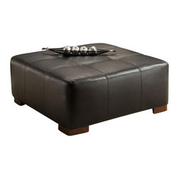 Chelsea Home - Upholstered Cocktail Ottoman - Medium seating comfort. Created with sinuous springs to provide no sag seating. 1.8 dacron wrapped foam cores with outside padding on arms and back for added comfort. Capri black covers. Upholstered in bonded leather. Nailed, stapled and corner blocked frame. Frame provide strength and durability. Made from solid hardwoods and plywood. Made in USA. No assembly required. 41 in. W x 41 in. D x 16 in. H (50 lbs.)
