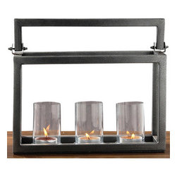 Alliyah Rugs - Hampton 3 Lite Candelabra - This centerpiece candle holder has three glass candle holders with handle and unique grey finish. The long candle holder, making a table centerpiece that adds a romantic glow to candlelight. They can be used for tea lights or candles to add a warm glow to evenings outdoors or indoors.