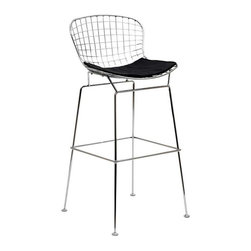 Modway - CAD Bar Stool in Black - The minimal nature of this CAD Wire Side Chair is an asset for any lover of modern furniture. A simple yet stylish design evoking the height of modern classic design. As comfortable as it is attractive, this is the sort of accent chair that starts conversations.